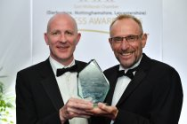 Stoneseed's Andrew Buzton accepts award from sponsor Chris Darlington of Mazars